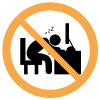 icono representando una vigilente de seguridad dormido en su escritorio sobrerayado con un icono de prohibicion.