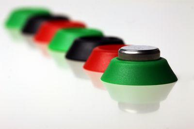Puntos de control para control de rondas de colores verde, negro y rojo